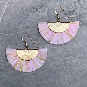 14K Gold Filled Boho Fan Tassel Earrings (Pink)